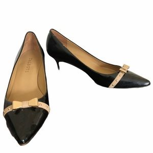 Talbots Black patent leather heel with gold bow